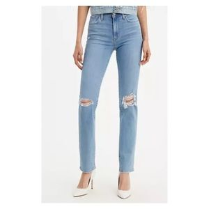 Levi's high rise straight jeans distressed knee 29